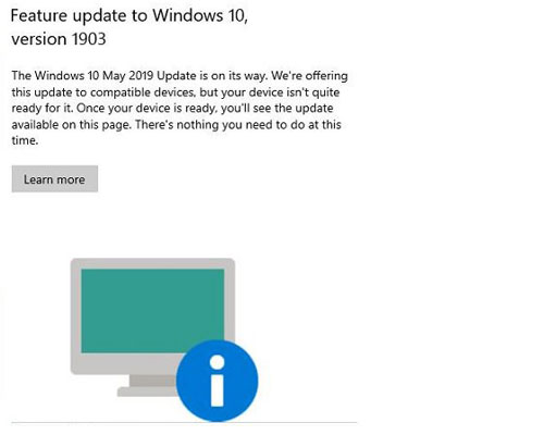 Why users may see a Windows 10 1903 update message | Clearwater IT